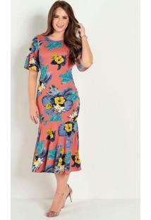 Vestido Justo Floral Ferrugem Moda Evangélica