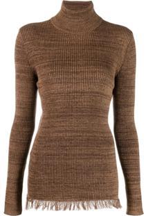 Marni Suéter Com Barra Desfiada - Marrom