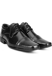 Sapato Social Walkabout Bico Quadrado Perfuros - Masculino-Preto