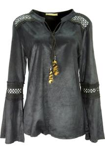 Blusa Infinity Fashion Suede Preto