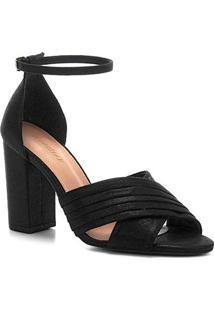 Sandália Shoestock Plissada Salto Bloco Feminina - Feminino-Preto