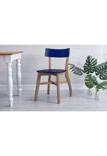Cadeira De Madeira Bella - Amêndoa E Azul Bic 44X51X82 Cm