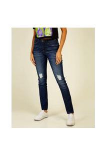 Calça Jeans Skinny Destroyed Feminina Marisa