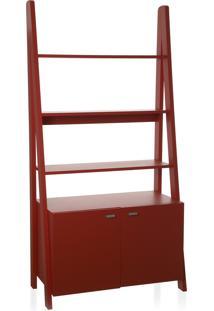 Estante 2 Portas Tangga Vermelho 84,5X39,5X175,5H