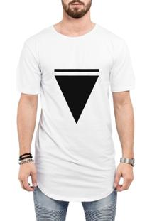 Camiseta Criativa Urbana Long Line Oversized Triângulo - Masculino