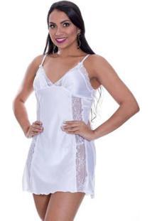 Camisola Cetim Com Calcinha Feminina - Feminino-Branco