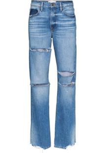 Frame Calça Jeans Reta Com Efeito Destroyed - Azul