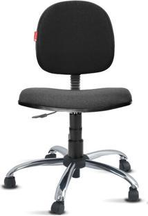 Cadeira Executiva Giratória Cromada Crepe Preto