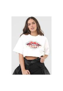Camiseta Cropped Colcci Bad Habits Off-White
