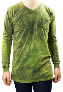 Camiseta Masculina Gola V Dixie 11.23.0001 - Masculino-Verde