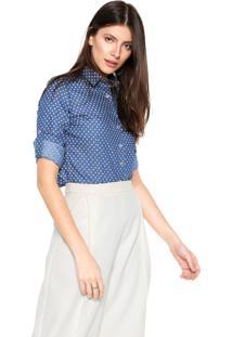 Camisa Jeans Dudalina Estrelas Azul