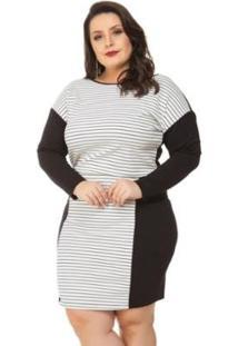 Vestido Beline Plus Size Listrado Ponto Roma Miss Masy - Feminino-Preto