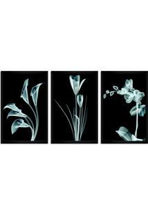 Quadro Oppen House 60X120Cm Flores Abstrato Transparentes Moldura Preta Estilo Raio X Decorativo Interiores Mod:Oh004