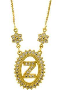 Colar Horus Import Letra Z Zircônia Banhado Ouro 18K Feminino - Feminino-Dourado