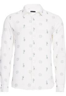 Camisa Masculina Floral Azulejo - Off White