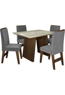Conjunto De Mesa Para Sala De Jantar Com Tampo De Vidro E 4 Cadeiras Vigo -Dobuê Movelaria - Castanho / Branco Off / Grafite Bord