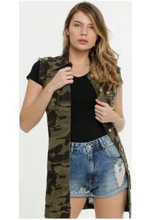 Colete Feminino Sarja Camuflado Zune Jeans By Sabrina Sato