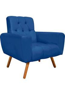 Poltrona Decorativa Pietra Suede Azul Royal Com Pés Palito - D'Rossi
