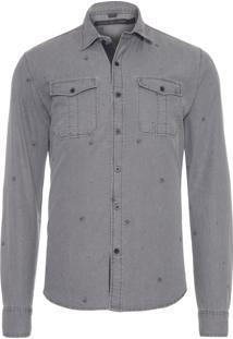 Camisa Masculina Grey Skull - Cinza