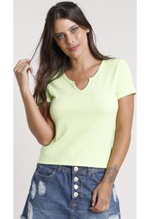 Blusa Feminina Canelada Manga Curta Decote V Verde Claro