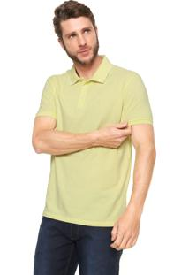 Camisa Polo Ellus Reta Collar Frame Amarela/Off-White