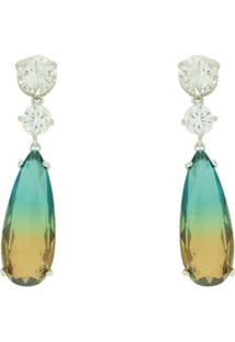 Brinco Lihanna Zirconia Cristal Rainbow Verde E Amarelo Rodio U18A030011