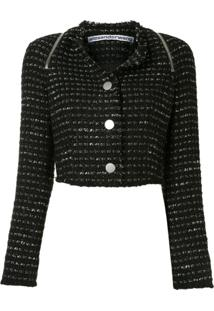 Alexander Wang Jaqueta Cropped De Tweed - Preto
