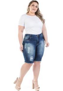 Bermuda Feminina Jeans Destroyed Shakira Plus Size - Feminino-Azul