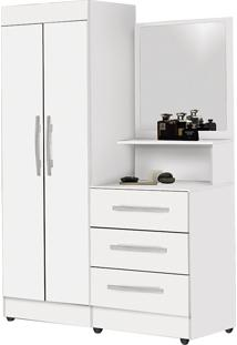 Guarda-Roupa Solteiro Com Espelho Penteadeira 2 Portas Onix Luxo -Móveis Primus - Branco