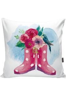 Capa De Almofada Garden- Branca & Pink- 42X42Cm-Stm Home