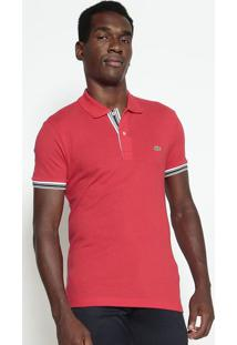 Polo Slim Fit Com Bordado- Vermelha & Brancalacoste