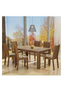 Conjunto Sala De Jantar Madesa Analu Mesa Tampo De Madeira Com 6 Cadeiras Rustic/Bege Marrom