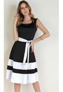 Vestido Preto E Branco Com Faixa Moda Evangélica