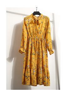 Vestido Madrid Vintage - Amarelo Com Flores