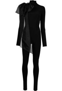 Atu Body Couture Macacão Mangas Longas Com Aplicação De Laço - Preto