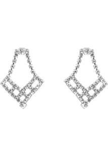 Brinco Bijoulux Prateado Geométrico Em Cristal Folheado - Tricae