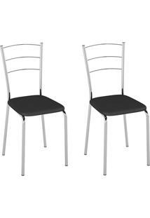 Cadeiras Kit 2 Cadeiras Corino Pc160001 Preto - Pozza