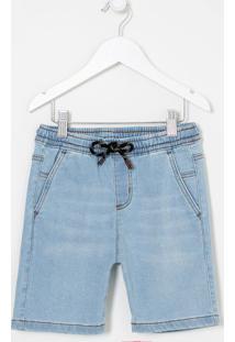 Bermuda Infantil Em Jeans Com Bolsos - Tam 5 A 14 Anos