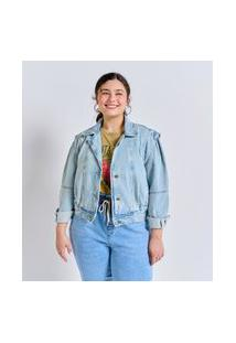 Jaqueta Jeans Liso Delavê Cropped Curve E Plus Size Azul