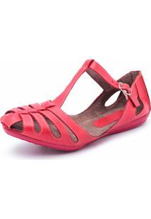 Sandália Rasteira Em Couro Dexshoes Vermelha