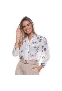Blusa Feminina Delicada Estampa Florida Botões Pérola Branco P Branco