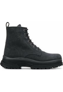 Moncler Ankle Boot Com Cadarço - Cinza