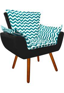 Poltrona Decorativa Opala Suede Composê Estampado Zig Zag Verde Tiffany D78 E Suede Preto - D'Rossi