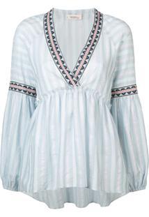 Lemlem Blusa Lisdrada Com Peplum Nefasi - Azul