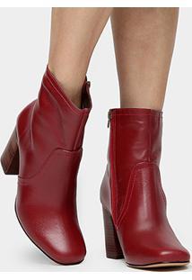 Bota Couro Shoestock Bico Quadrado Feminina - Feminino-Vermelho