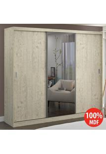 Guarda Roupa 3 Portas Com 1 Espelho 100% Mdf 774E1 Marfim Areia - Foscarini