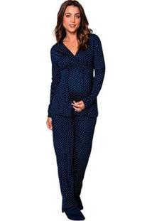 Pijama De Inverno Gestante Amamentação Luna Cuore - Feminino