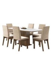 Conjunto Sala De Jantar Madesa Cecília Mesa Tampo De Madeira Com 6 Cadeiras Rustic/Branco/Fendi Rustic/Branco/Fendi