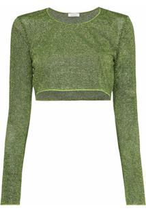 Oséree Blusa Lumiere Verde Cropped De Lurex