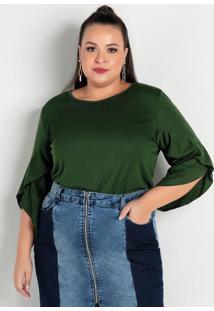 Blusa Verde Com Mangas Sobrepostas Plus Size